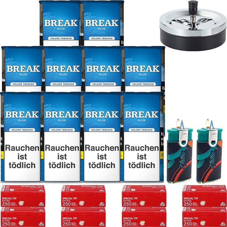 Break Blue / Blau 10 x 115g mit 2000 Gizeh Red Extra Hülsen
