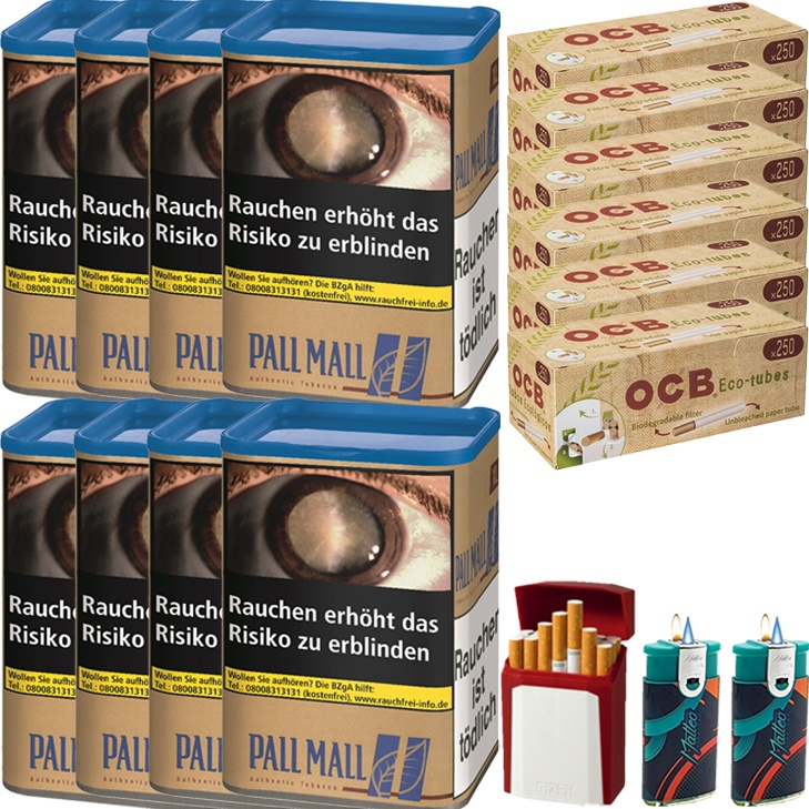 Pall Mall Authentic Blue 8 x 55g mit 1500 King Size Hülsen