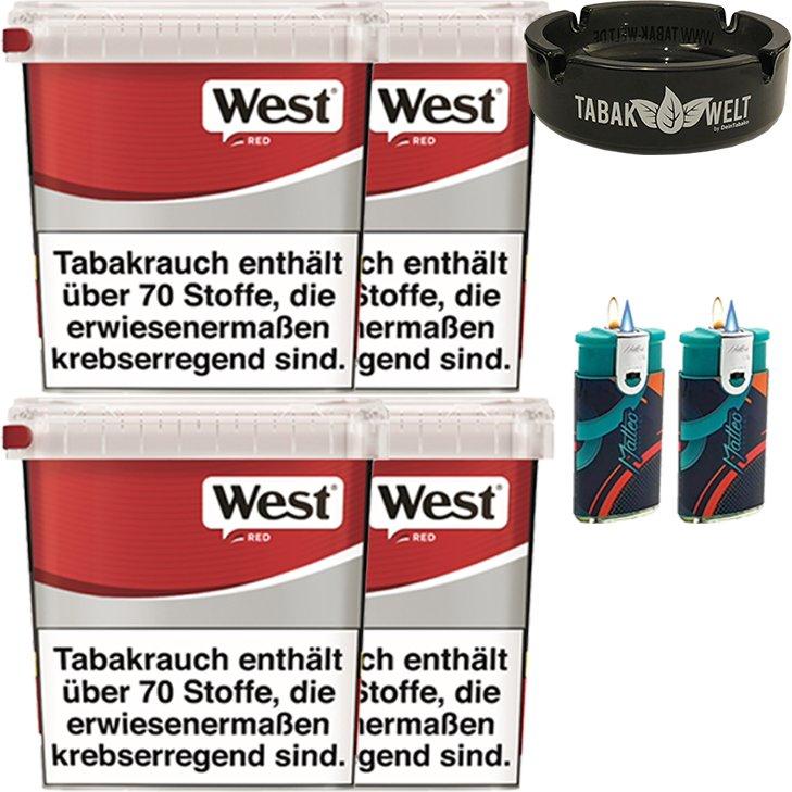 West Red 4 x 280g mit Glasaschenbecher