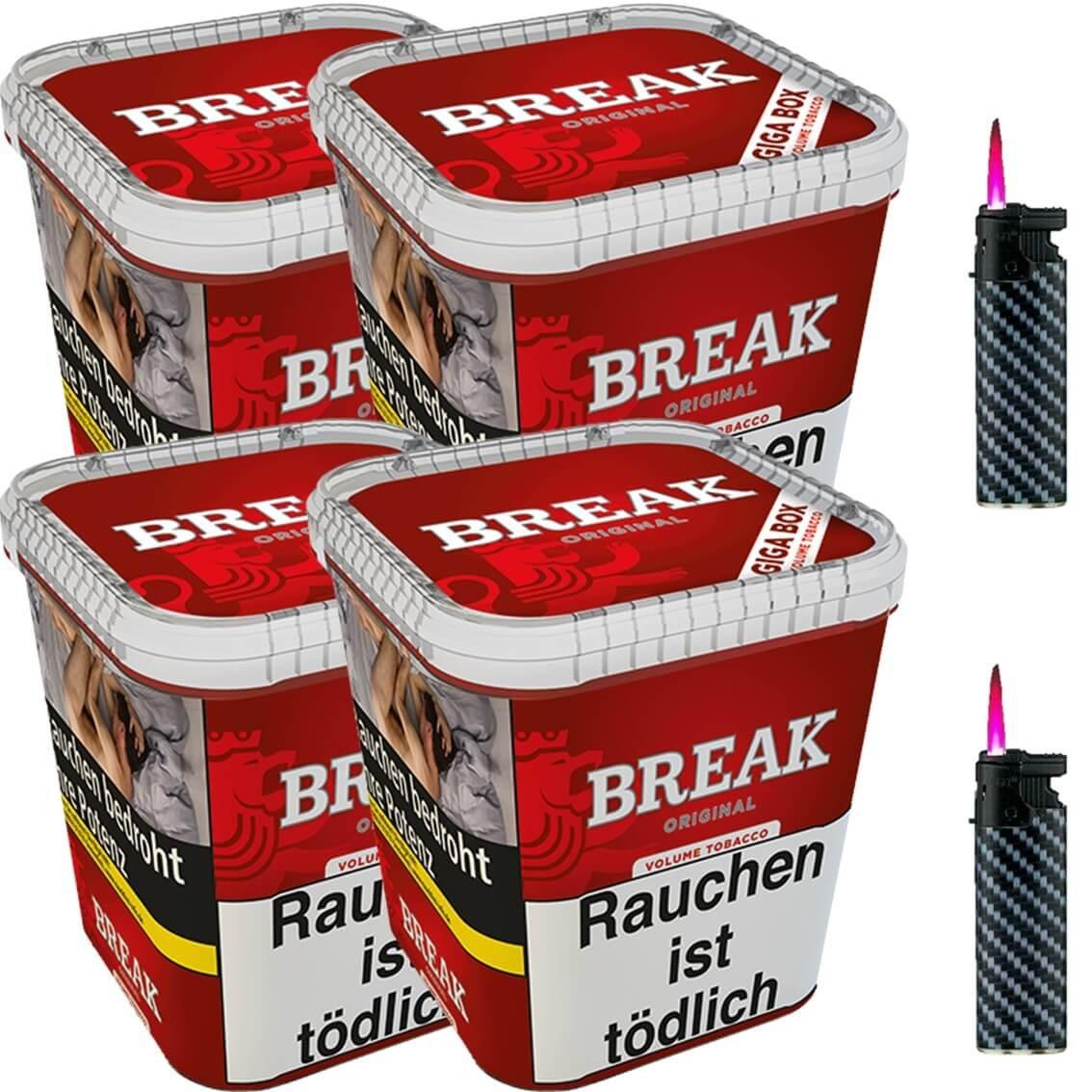 Break Original 4 x 230g Volumentabak 2 x Sturmfeuerzeuge
