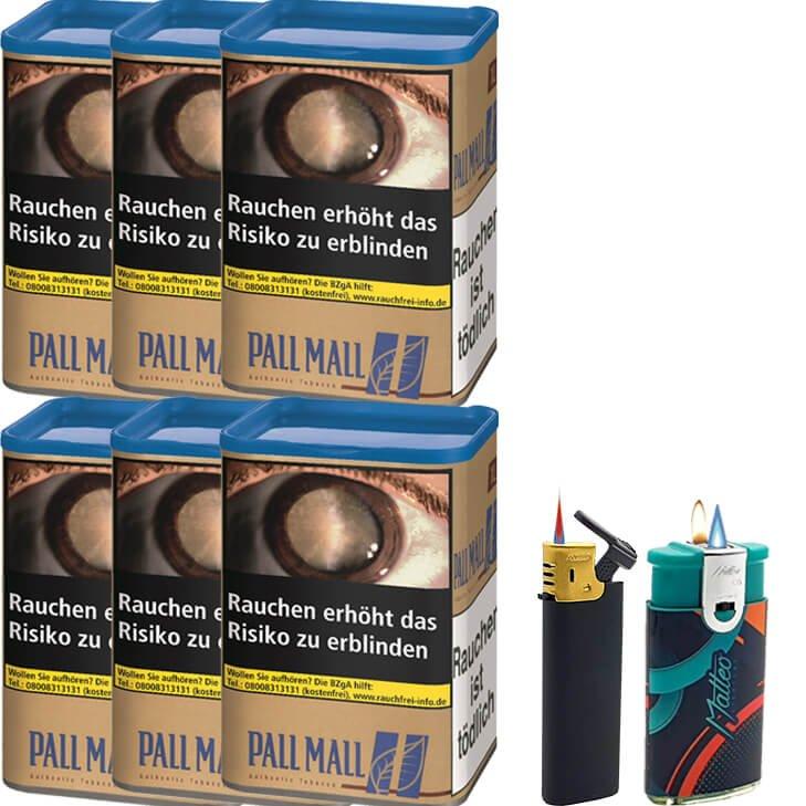 Pall Mall Authentic Blue 6 x 55g mit Feuerzeugen