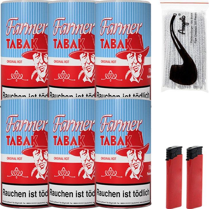 Farmer 6 x 160g Pfeifentabak Rot mit Pfeifenreiniger