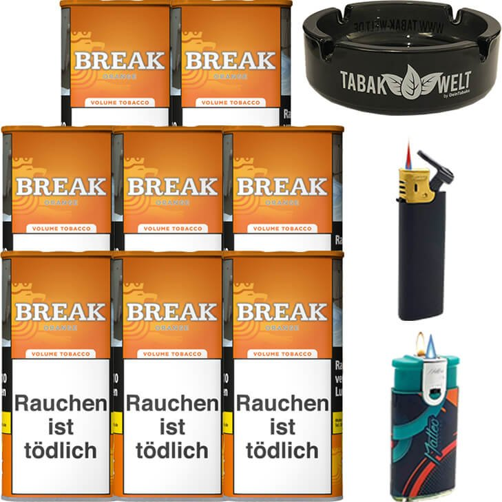 Break Orange 8 x 110g mit Glasaschenbecher