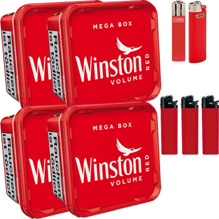Winston Mega Box 4 x 155g mit Feuerzeugen