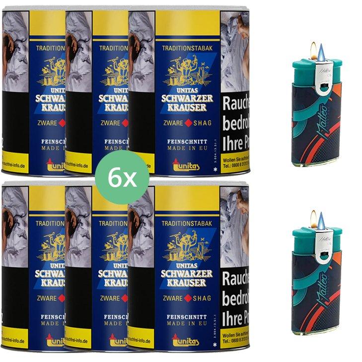 Schwarzer Krauser Zware Shag 6 x 125g Zigarettentabak mit Feuerzeugen