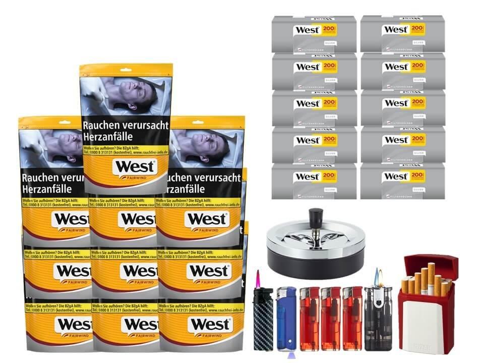 West Yellow Fairwind 10 x 120g mit 2000 Silver King Size Hülsen