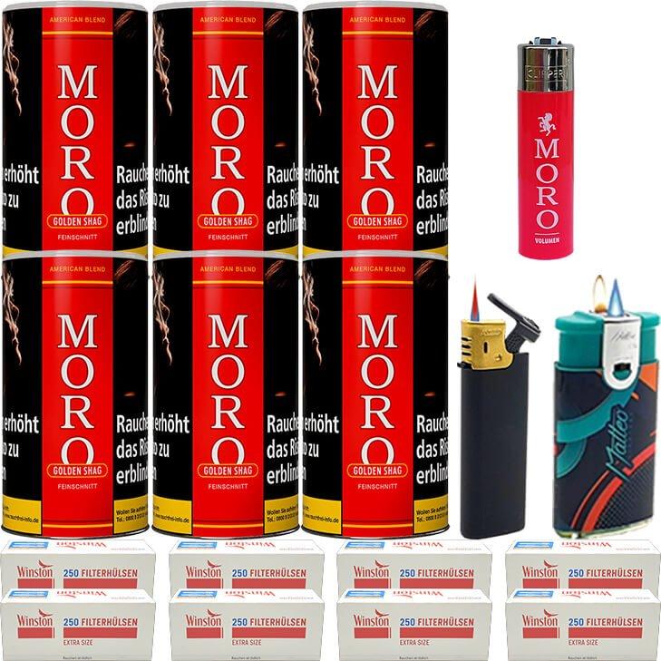 Moro Rot Feinschnittabak 6 x 180g mit 2000 Special Size Hülsen