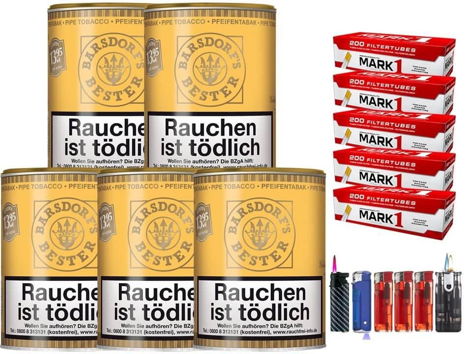 Barsdorf´s Bester Honey & Rum / Gold 5 x 160g Pfeifentabak 1000 Filterhülsen Uvm.