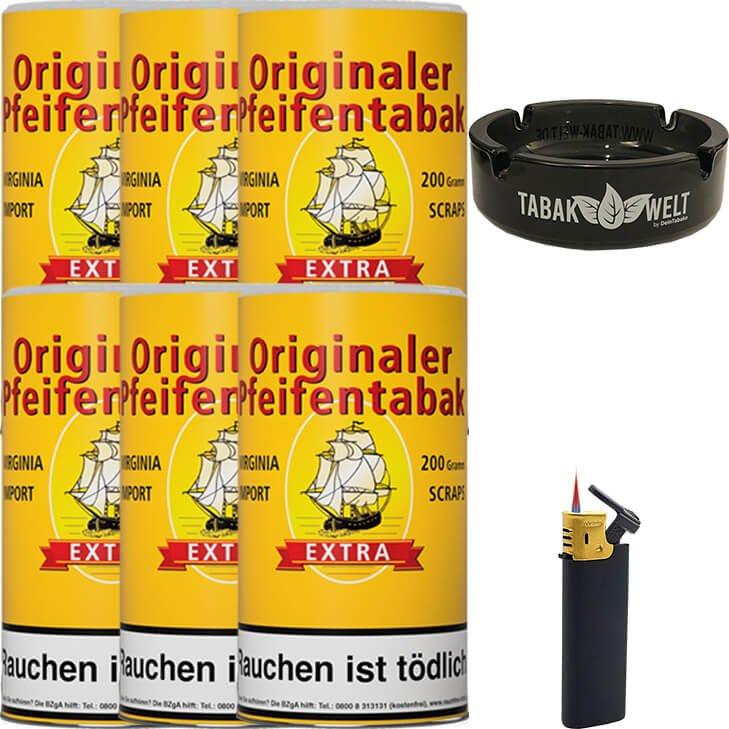 Originaler Pfeifentabak 6 x 200g mit Aschenbecher