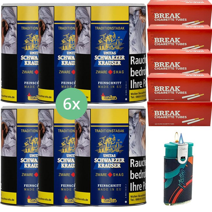 Schwarzer Krauser Zware Shag 6 x 125g Zigarettentabak 1000 King Size Filterhülsen Uvm.