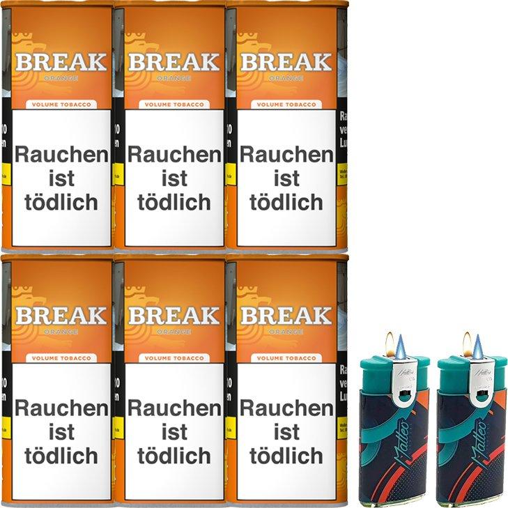 Break Orange 6 x 110g mit Feuerzeugen