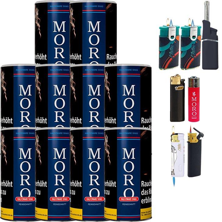 Moro Blau Feinschnittabak 10 x 180g mit Feuerzeugen