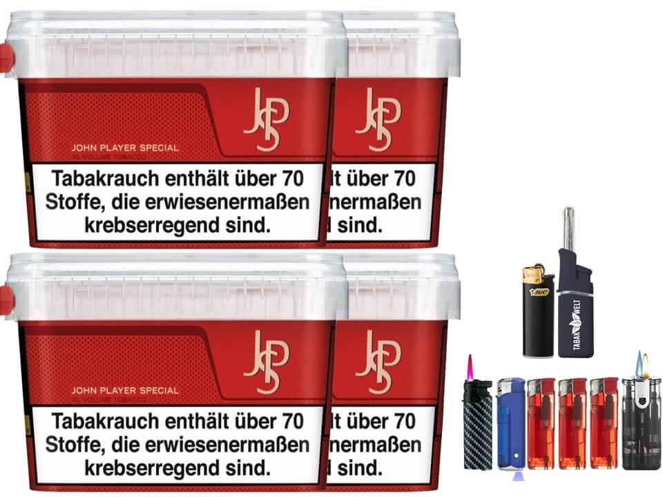 JPS John Player Mega Box 4 x 160g Volumentabak Feuerzeug Set
