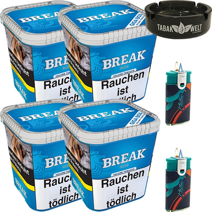 Break Blue 4 x 230g mit Glasaschenbecher