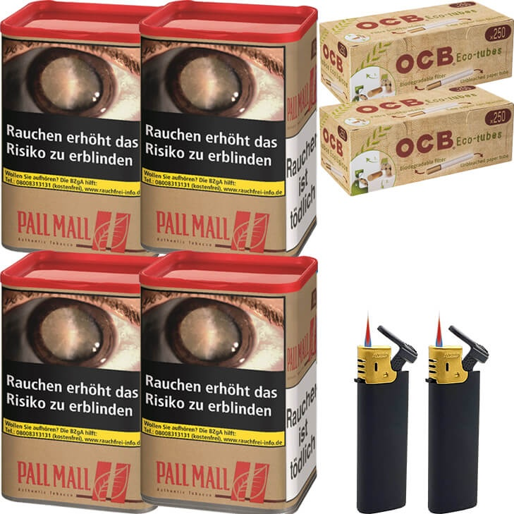 Pall Mall Authentic Red 4 x 55g mit 500 King Size Hülsen