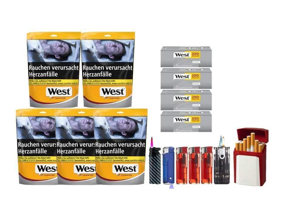 West Yellow Fairwind 5 x 120g mit 1000 Silver Extra Size Hülsen