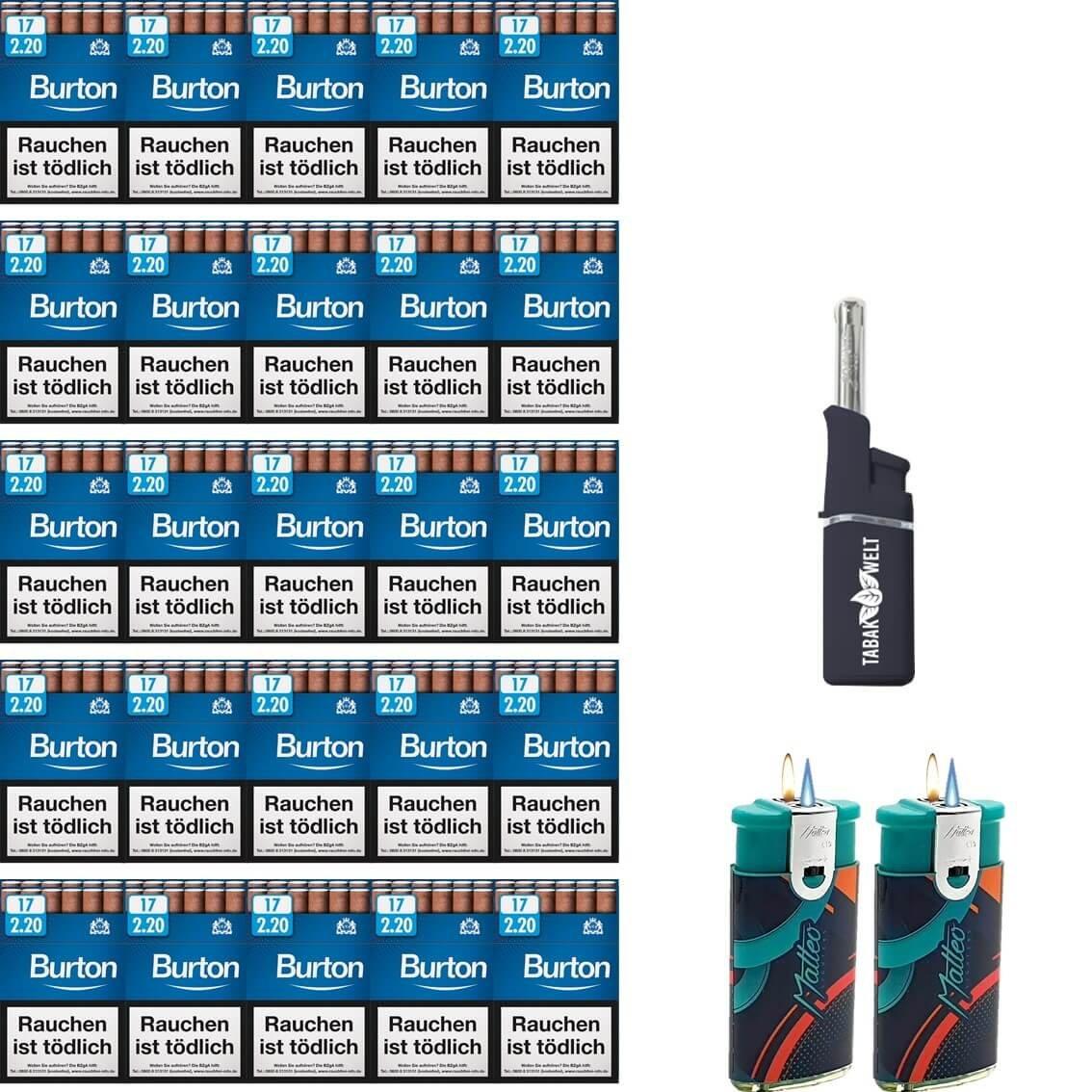 Burton Blue Zigarillos Filter (5 Stangen) 50 x 17 Stück