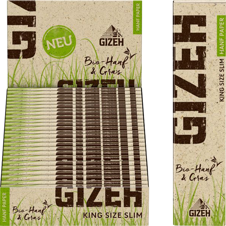 Gizeh Hanf & Gras King Size Slim 25 x 34 Blatt