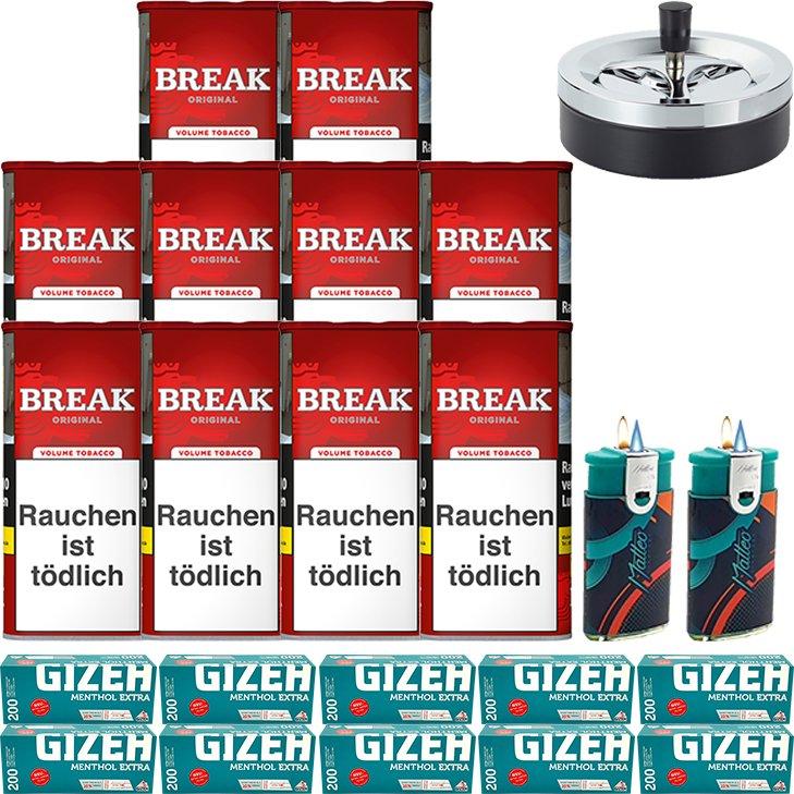 Break Original 10 x 115g mit 2000 Menthol Extra Hülsen