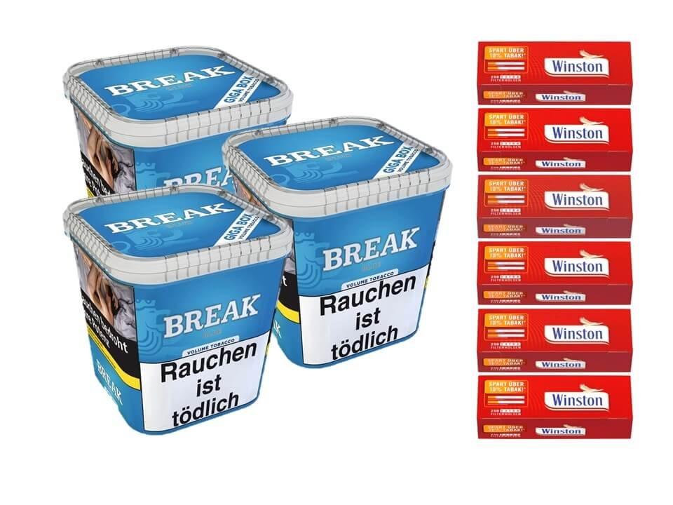 Break Blue / Blau 3 x 230g Volumentabak 1500 Filterhülsen