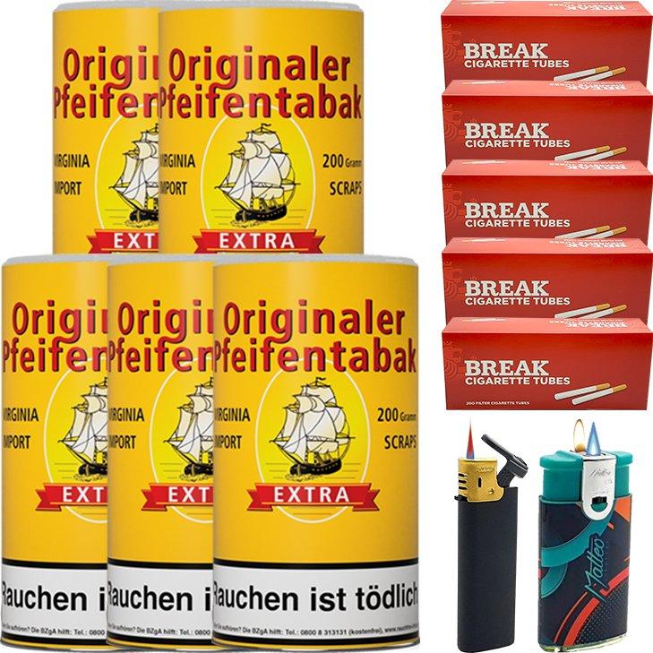 Originaler Pfeifentabak 5 x 200g mit 1000 Hülsen