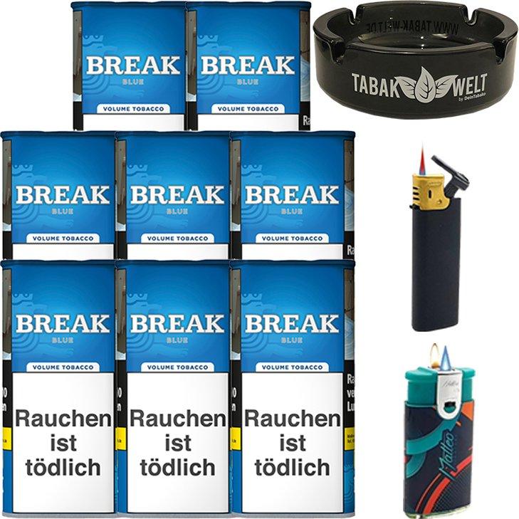 Break Blue / Blau 8 x 115g mit Glasaschenbecher
