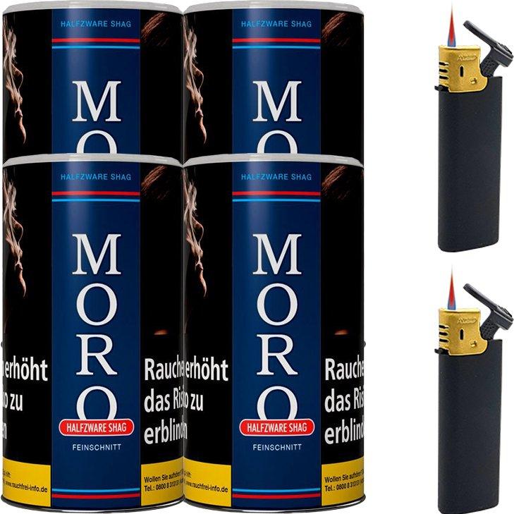 Moro Blau Feinschnittabak 4 x 180g mit Feuerzeugen