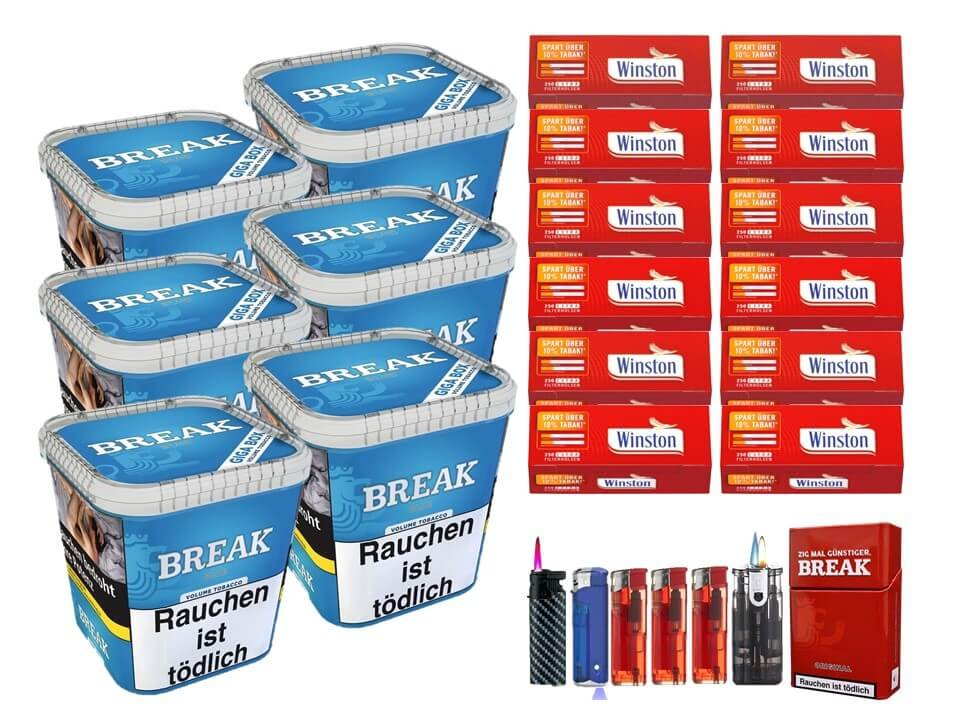 Break Blue / Blau 6 x 230g Volumentabak 3000 Extra Size Filterhülsen Uvm.