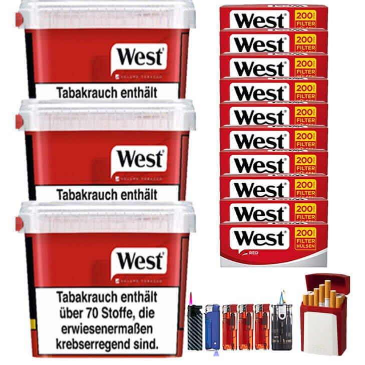 West Red 3 x 280g mit 2000 King Size Hülsen