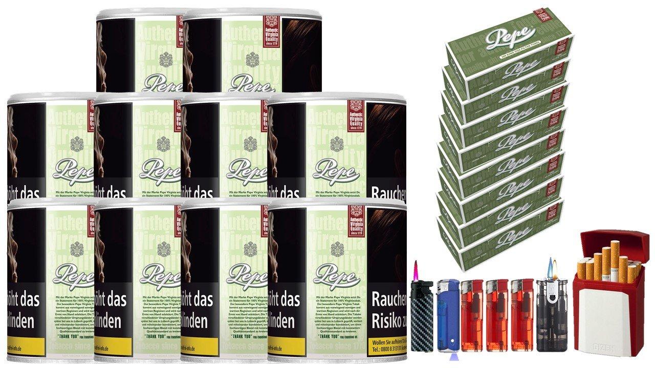 Pepe Bright Green 10 x 80g Feinschnitt / Zigarettentabak 1600 Pepe Filterhülsen Uvm.