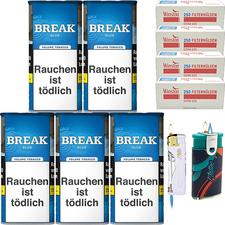 Break Blue / Blau 5 x 115g mit 1000 Extra Size Hülsen