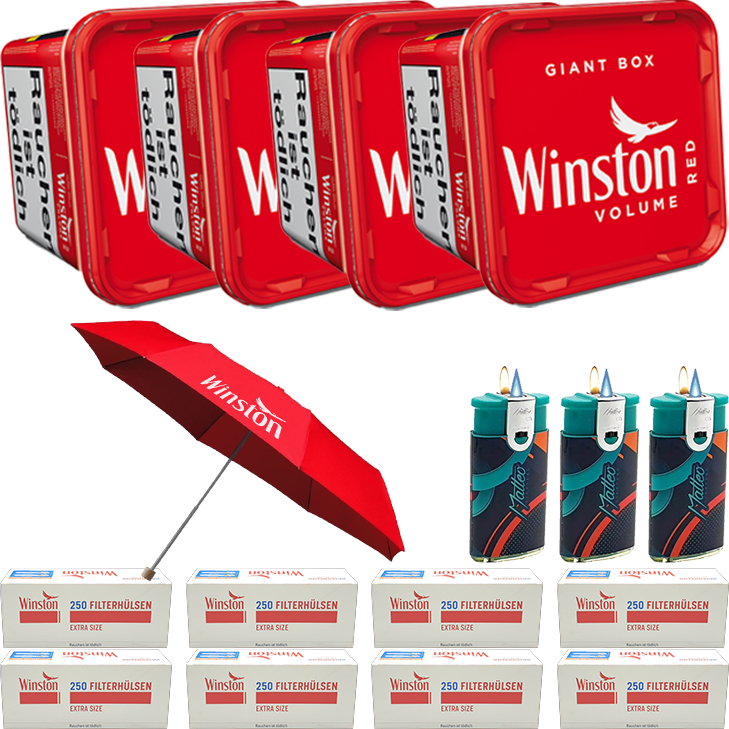 Winston Giant Box 4 x 260g mit 2000 Special Size Hülsen