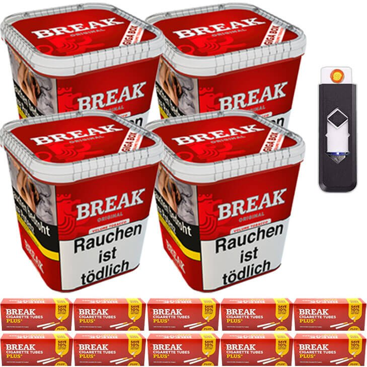 Break Original 4 x 230g Volumentabak 2000 Special Size Filterhülse USB-Feuerzeug