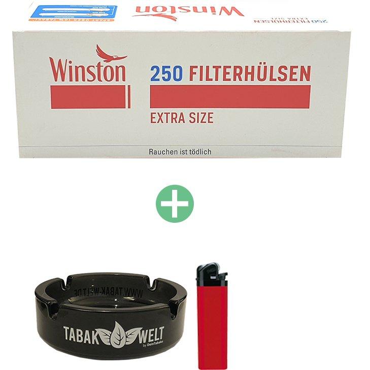 Winston Extra Filterhülsen 8 x 250er mit Glasaschenbecher