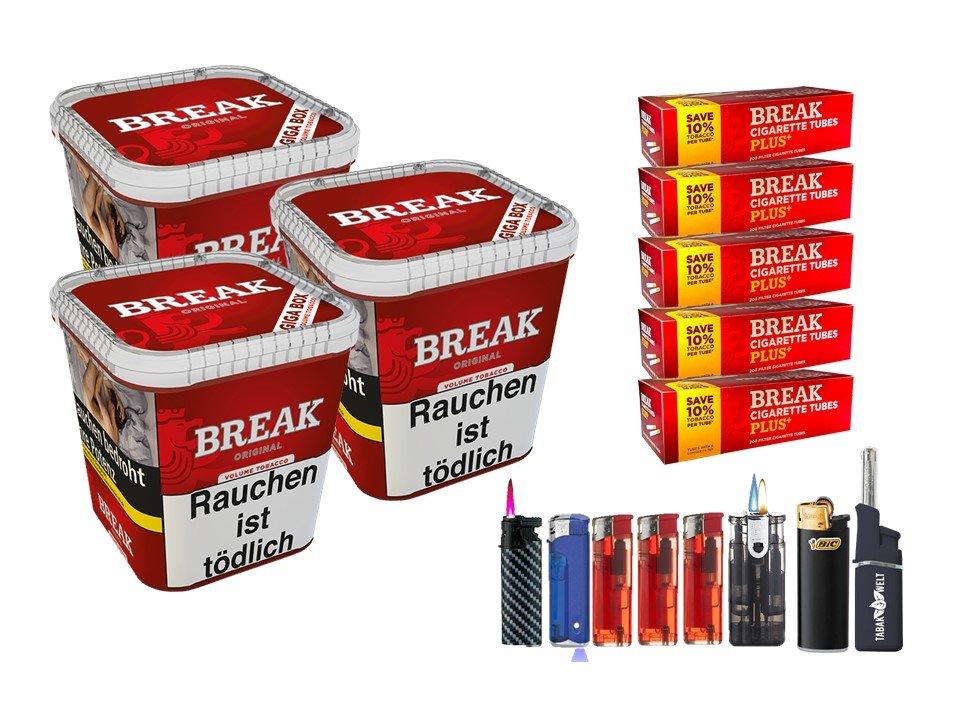 Break Original 3 x 230g Volumentabak 1000 Break Xtra Plus Filterhülsen Uvm.