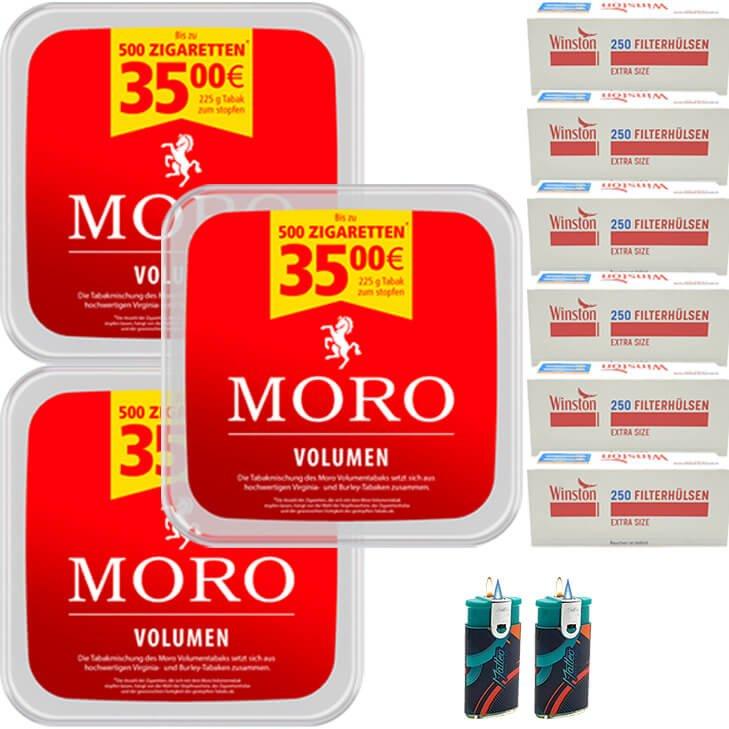 Moro Volumen 3 x 225g mit 1500 Extra Size Hülsen