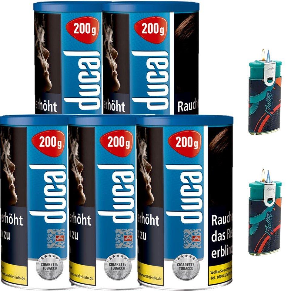 Ducal Blue / Blau 5 x 200g Feinschnitt / Zigarettentabak 2 x Duo Feuerzeug mit-2-Flammen