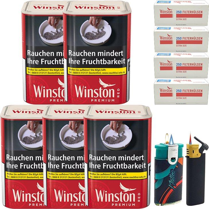 Winston Premium Red 5 x 90g mit 1000 Extra Size Hülsen