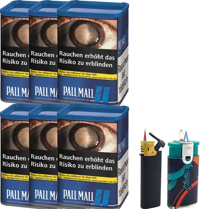 Pall Mall Blue XL 6 x 55g mit Feuerzeugen