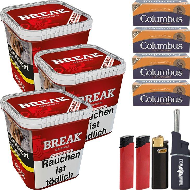 Break Original 3 x 230g mit 1000 King Size Hülsen