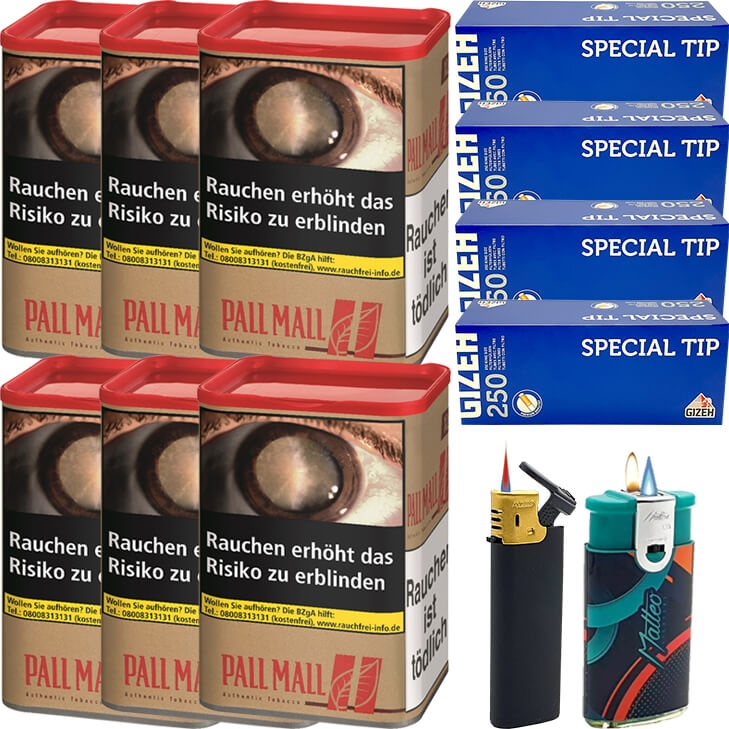 Pall Mall Authentic Red 6 x 55g mit 1000 Special Tip King Size Hülsen