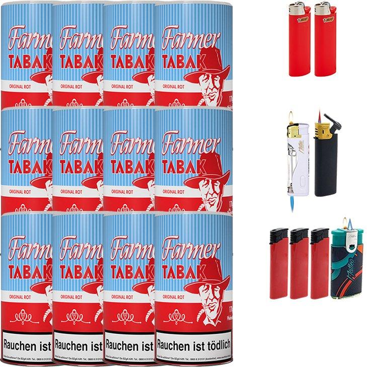 Farmer 12 x 160g Pfeifentabak Rot mit Feuerzeugen