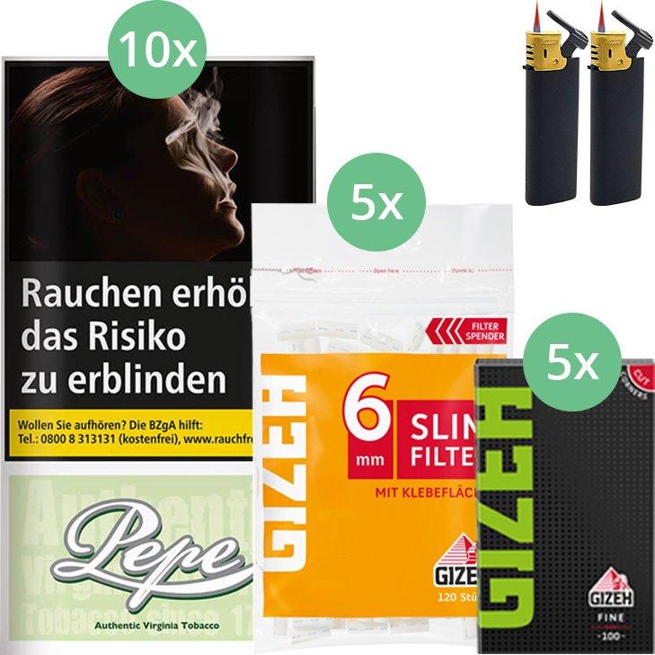 Pepe Bright Green 10 x 30g mit Gizeh Blättchen und Filter