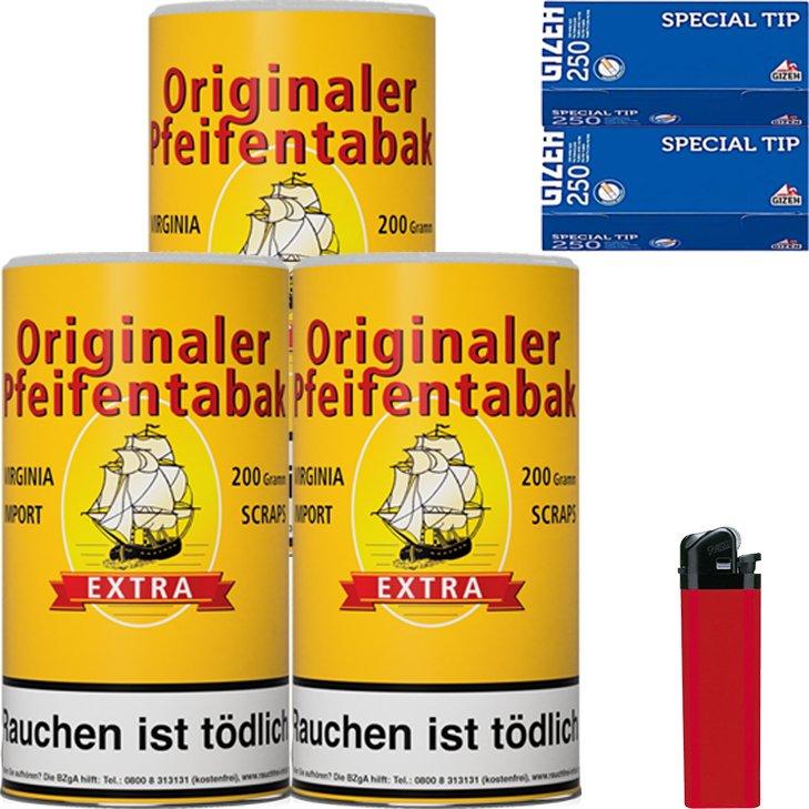 Originaler Pfeifentabak 3 x 200g mit 500 Hülsen