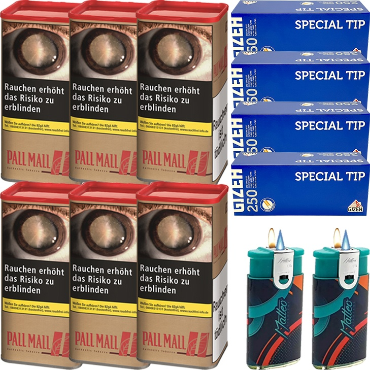 Pall Mall Authentic Red 6 x 95g mit 1000 King Size Hülsen