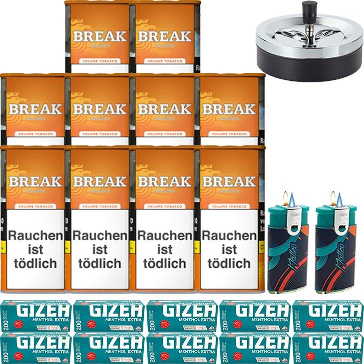 Break Orange 10 x 110g mit 2000 Menthol Extra Hülsen