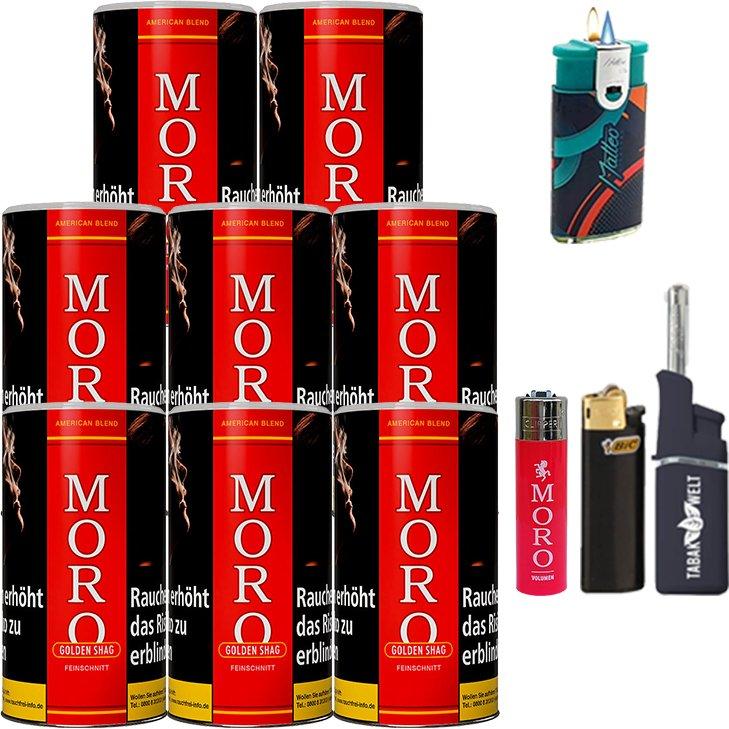 Moro Rot Feinschnittabak 8 x 180g mit Feuerzeugen