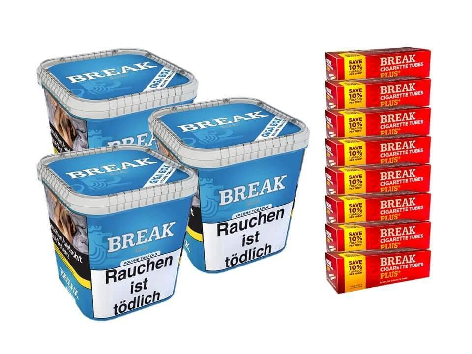 Break Blue / Blau 3 x 230g Volumentabak 1600 Break Xtra Plus Filterhülsen