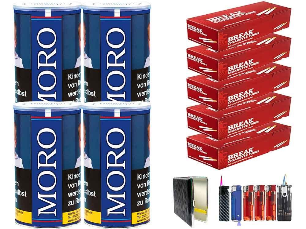 Moro Blau 4 x 180g Feinschnitt-Tabak 1000 Filterhülsen Uvm.