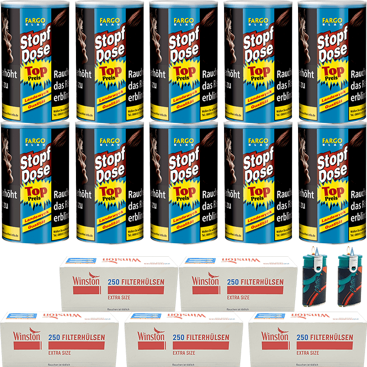 Fargo Stopfdose Blau 10 x 140g mit 1250 Winston Extra Size Hülsen